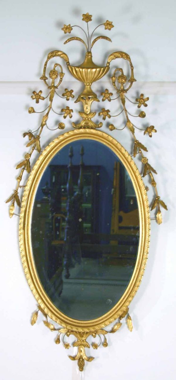 11: Gilded & Carved Oval Adams Style Mirror. Circa 1910