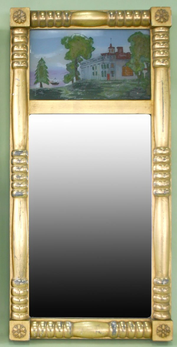14: Empire Style Pier Mirror with Reverse Painted Scene