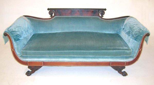 "16: Mahogany Inlaid Sheraton Sofa Circa 1900. 34""h x 82"
