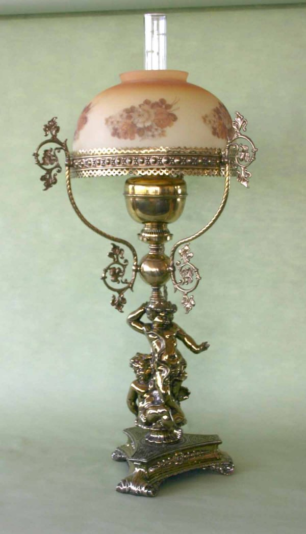 21: Victorian Style Brass Lamp with Hand Painted Shade.