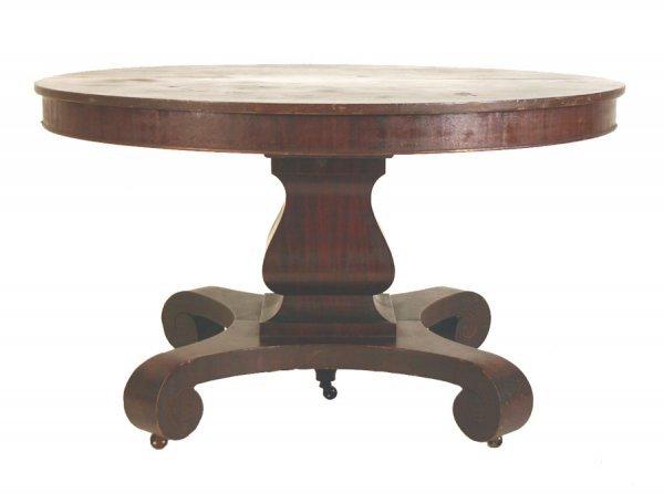 "22: Mahogany Empire Revival Dining Table. 30""h x 54""d ("
