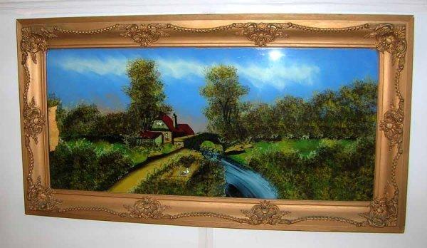 23: Antique Reverse Painted Landscape Scene Circa 1900.