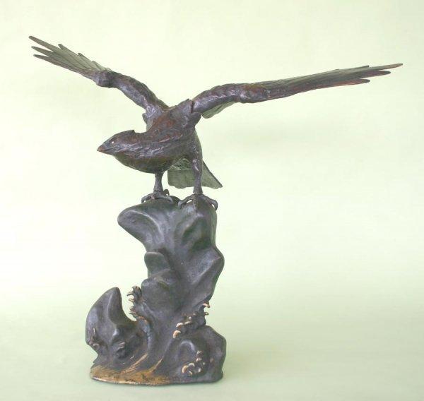 "24: Metal Sculpture of Eagle Circa 1920. 26""h x 31""w"