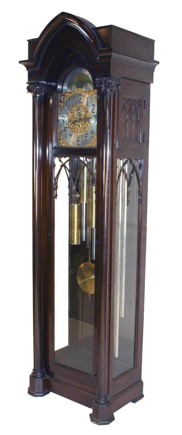 29: Mahogany Gothic Nine Tube Tall Case Clock Marked Co