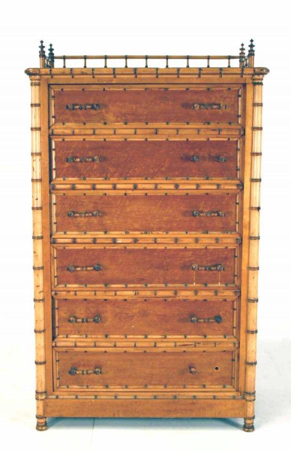 66: Rare RJ Horner Victorian Faux Bamboo Lock Side