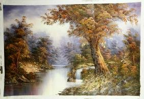FINE OIL PAINTING DEPICTING RIVER AND TREES SCENERY,