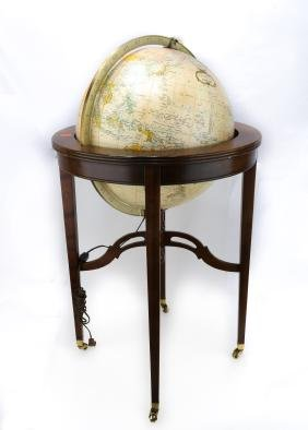 "A 16"" HEIRLOOM GLOBE BY REPLOGE, ON A MAHOGANY.M020."