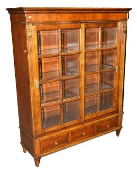 A ETHAN ALLEN WALNUT FINISH 2-DOOR BOOKCASE WITH