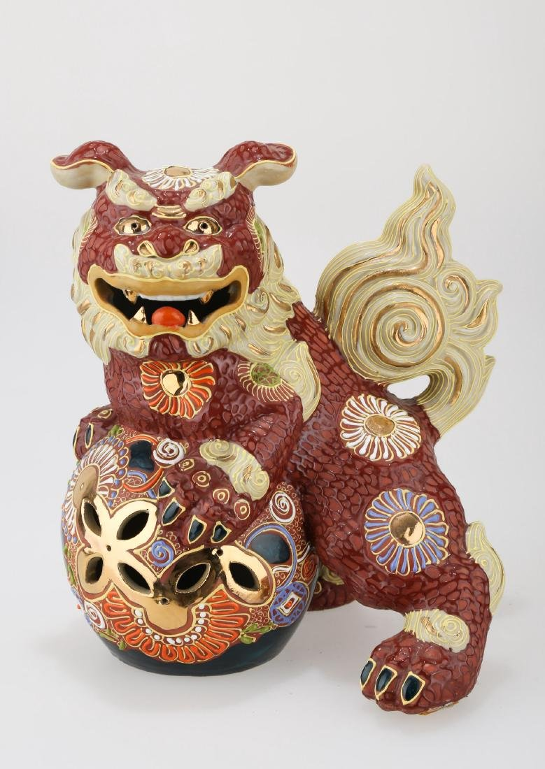 CHINESE GILT RED GLAZE PORCELAIN ORNAMENT.C205.
