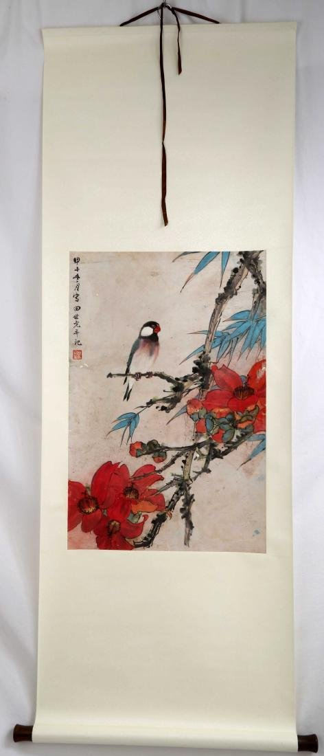 SIGNED TIAN SHIGUANG (1916-1999). A INK AND COLOR ON - 2
