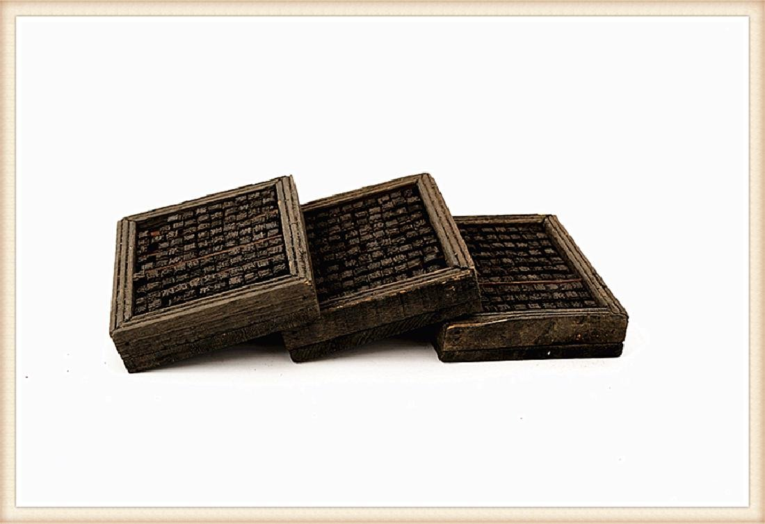 A SET THREE BOXES FILLED WITH WOODEN MOVABLE PRINTING