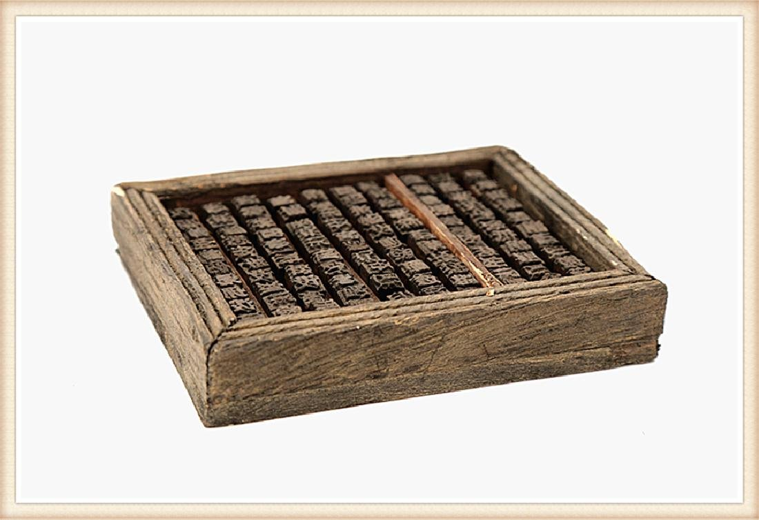 A SET THREE BOXES FILLED WITH WOODEN MOVABLE PRINTING - 7
