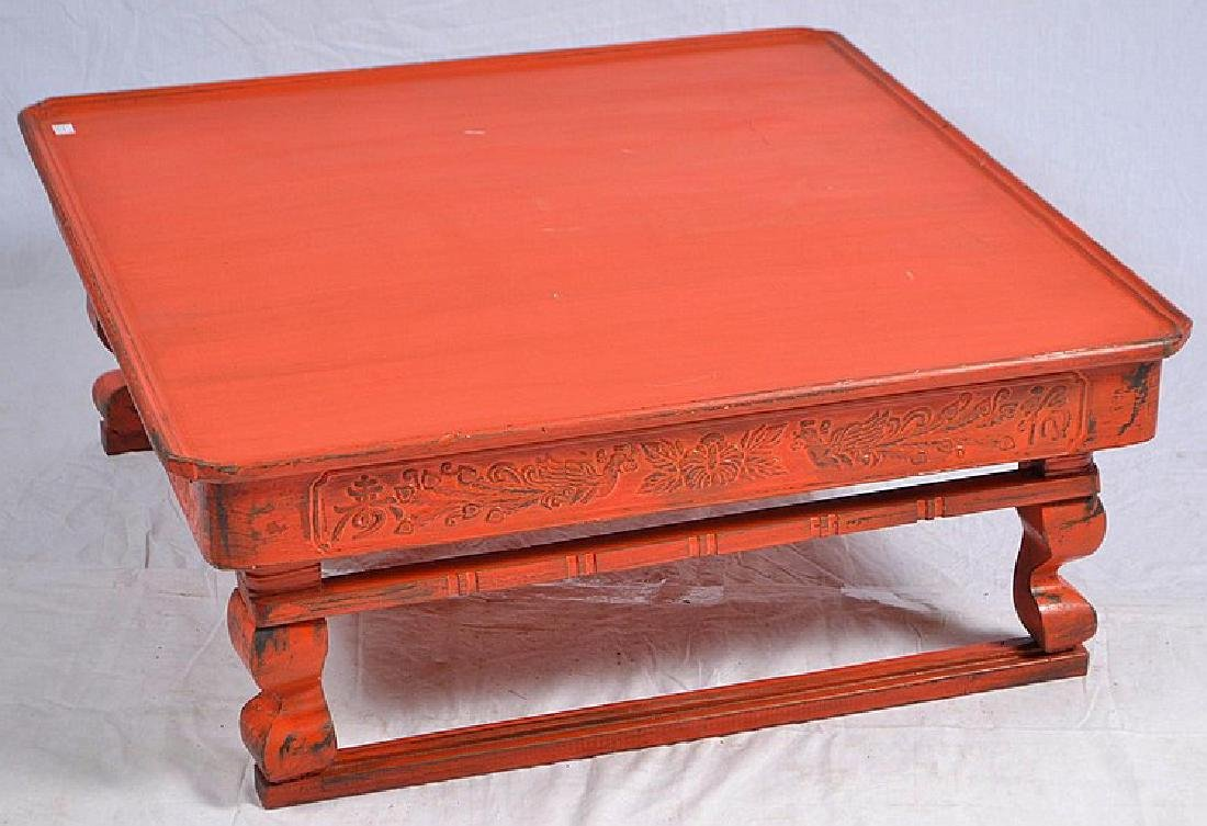 OLD CHINESE RED MARCH AND TRAVEL FOLDING TABLE.