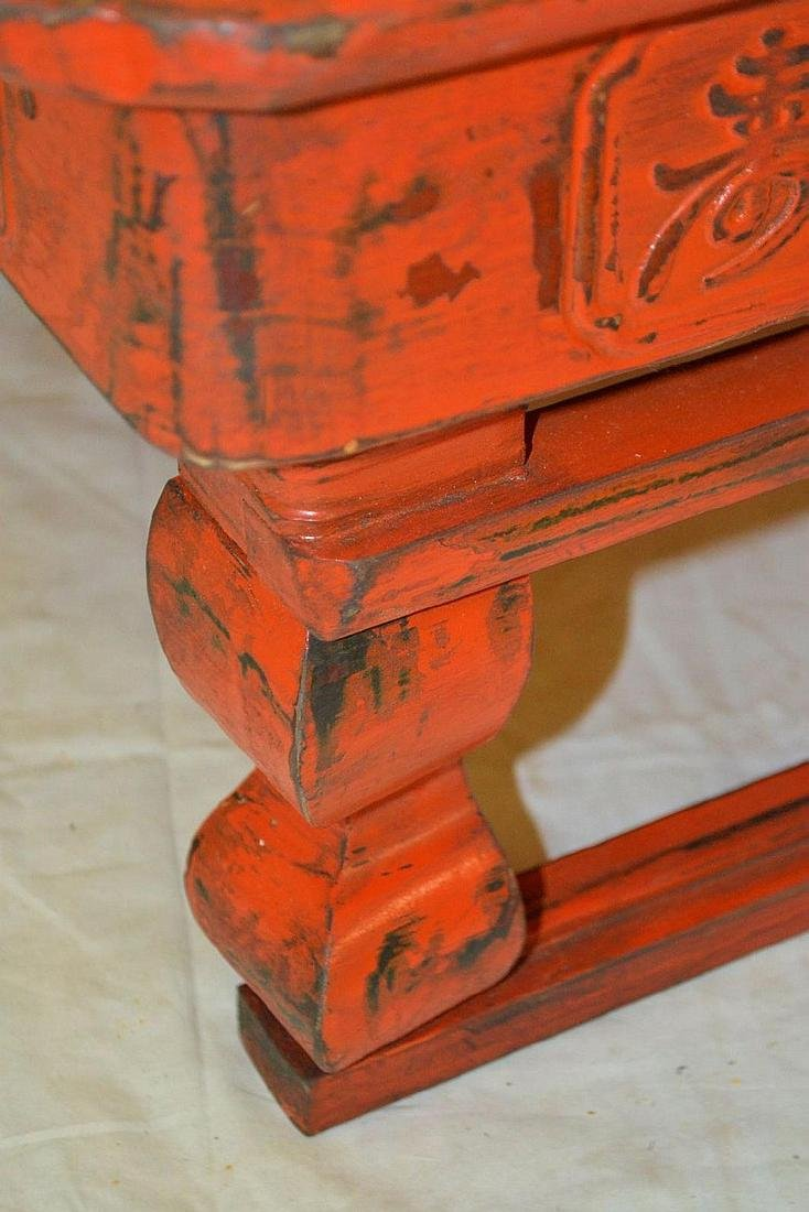 OLD CHINESE RED MARCH AND TRAVEL FOLDING TABLE. - 3