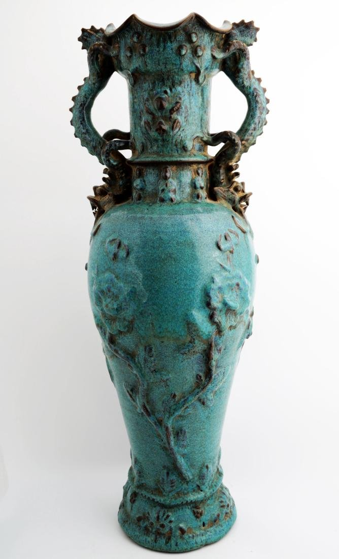 A  MING DYNASTY JUN YAO VASE WITH TWO DRAGON HANDLES