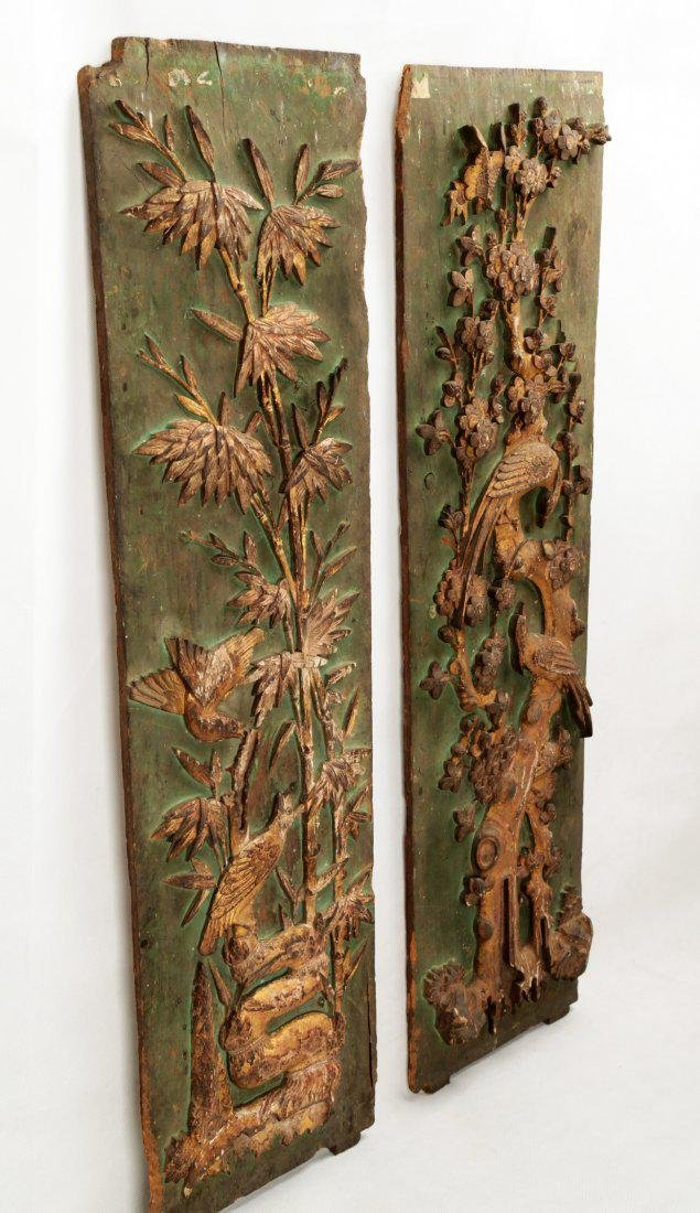 A PAIR OF CARVED WITH FLOWERS AND BIRDS DESIGN CAMPHOR - 2