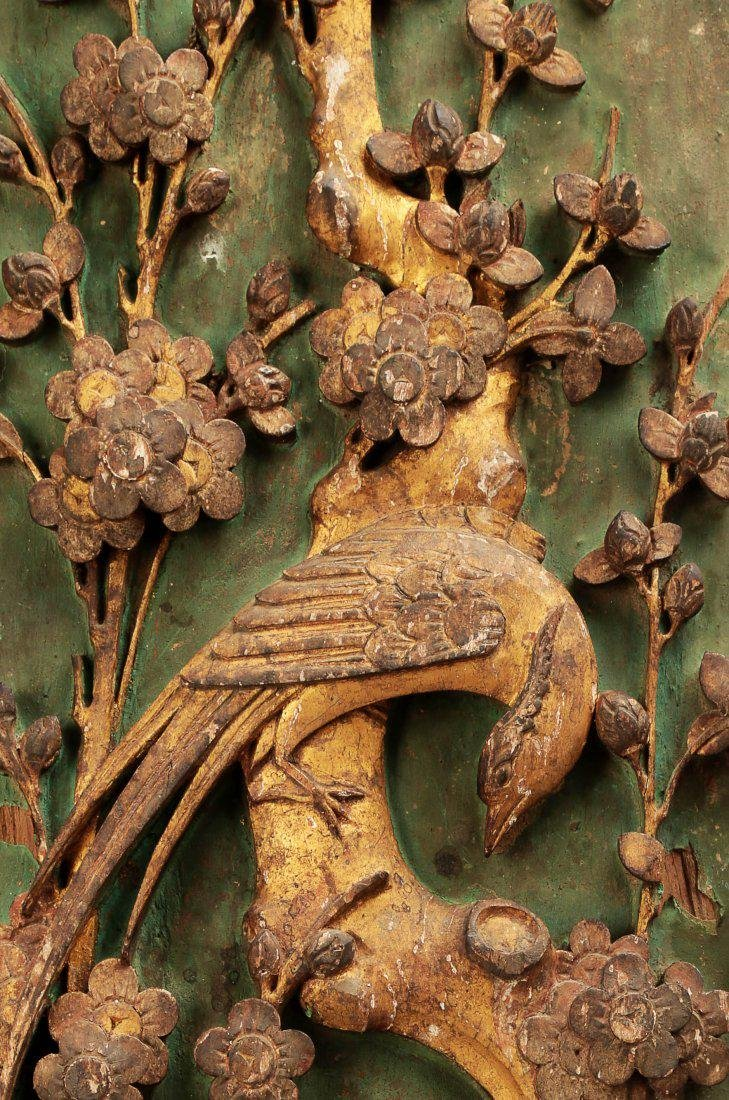 A PAIR OF CARVED WITH FLOWERS AND BIRDS DESIGN CAMPHOR - 5