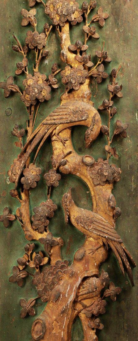 A PAIR OF CARVED WITH FLOWERS AND BIRDS DESIGN CAMPHOR - 8