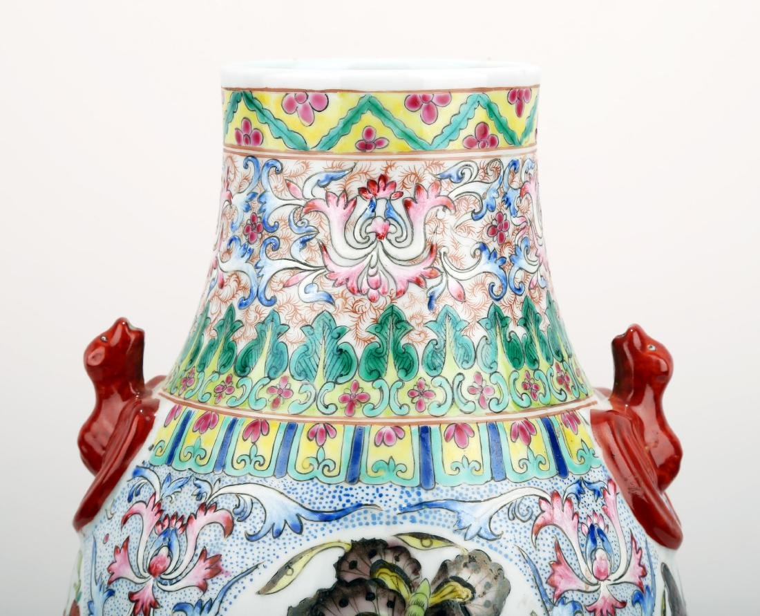 A FAMILLE ROSE PORCELAIN VASE WITH BAT HANDLES AND - 3