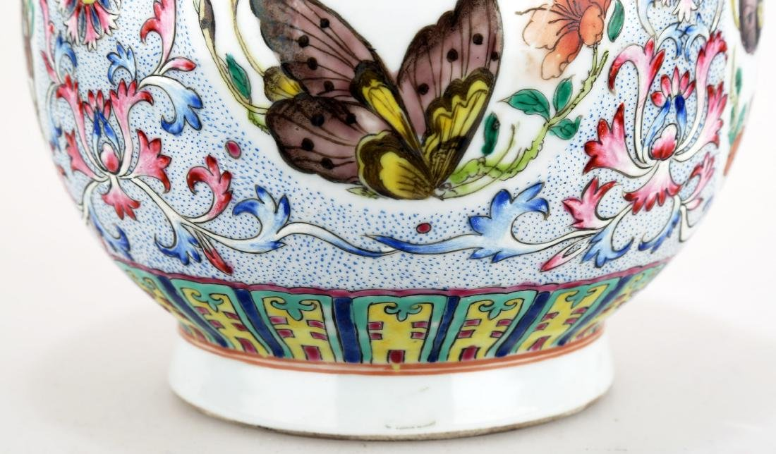 A FAMILLE ROSE PORCELAIN VASE WITH BAT HANDLES AND - 5