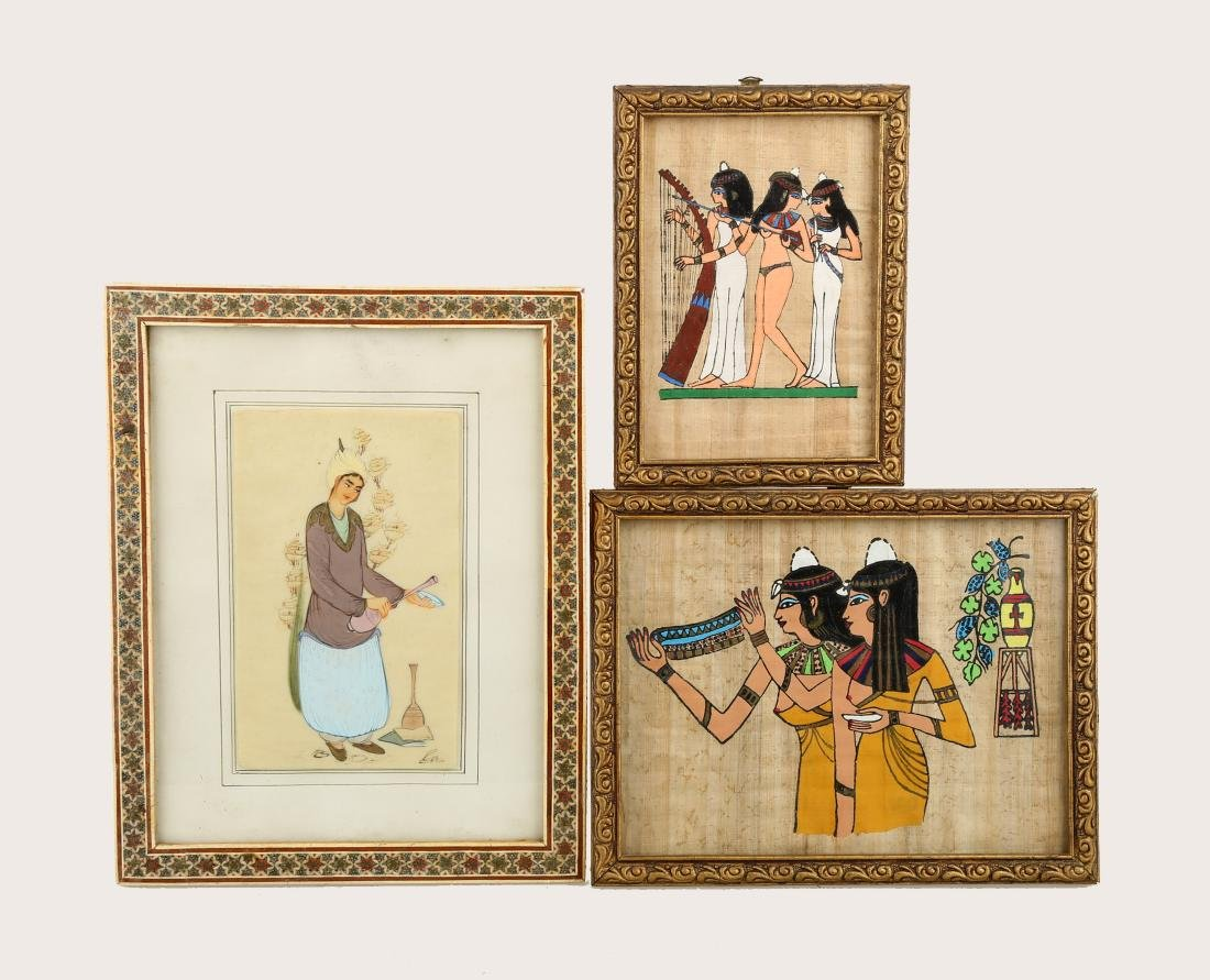 (3)  GROUP OF FRAMED DECORATIVE ITEMS.OH029.