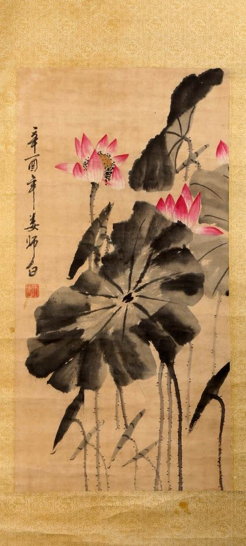 SIGNED LOU SHIBAI (1918-2010). A INK AND COLOR ON PAPER - 2