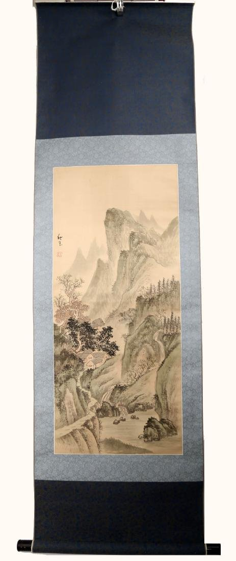 SIGNED QIU YU. A INK AND COLOR ON PAPER HANGING SCROLL