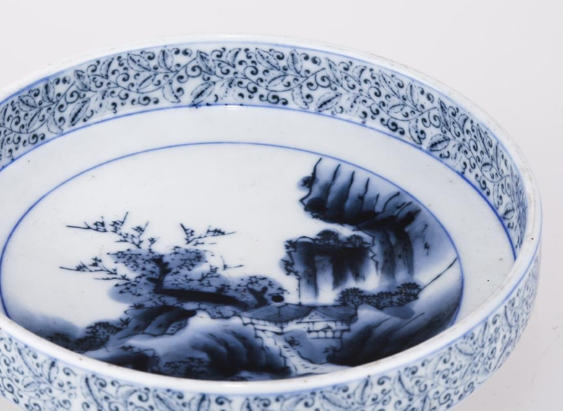 A CHINESE BLUE AND WHITE PORCELAIN DISH.THE BASE MARKED - 6