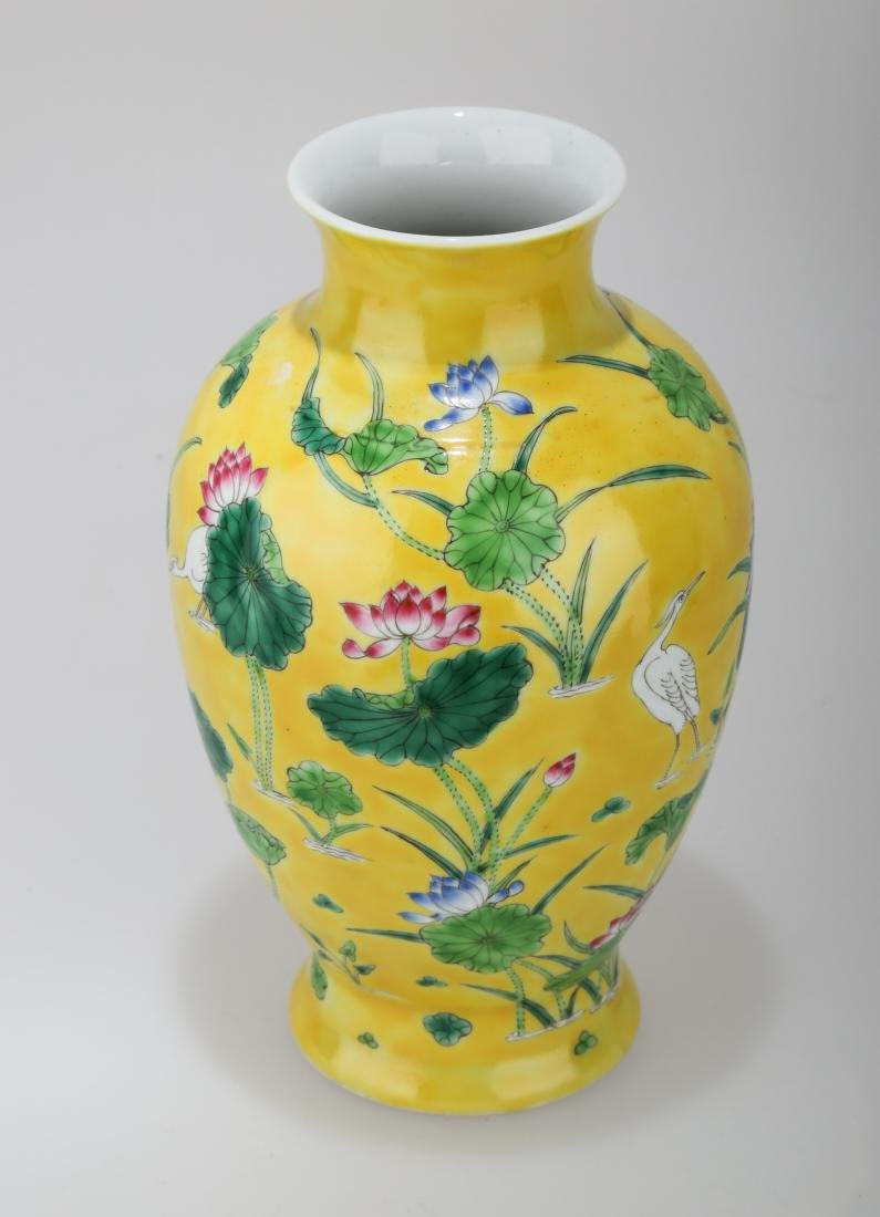 A JAUNE GROUND PORCELAIN WINE EWER WITH FLORAL AND - 2