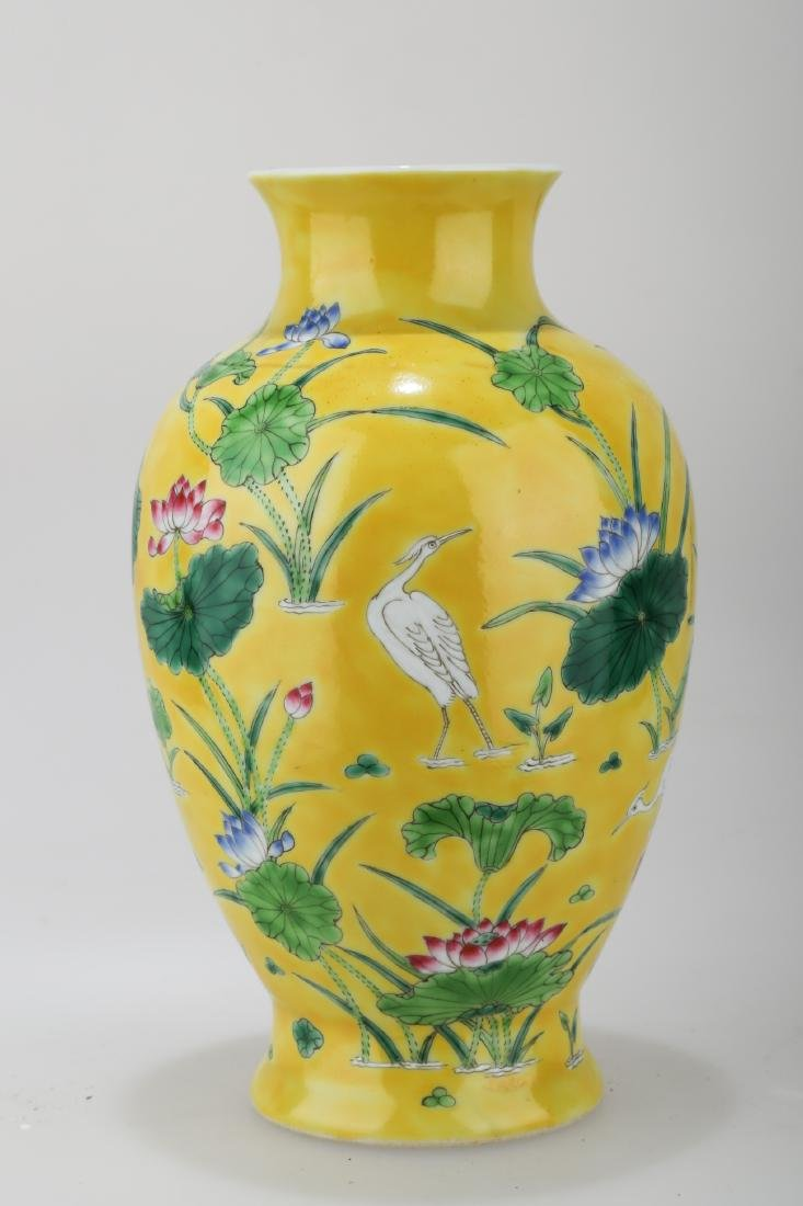 A JAUNE GROUND PORCELAIN WINE EWER WITH FLORAL AND - 3