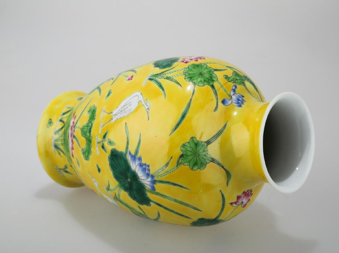 A JAUNE GROUND PORCELAIN WINE EWER WITH FLORAL AND - 4