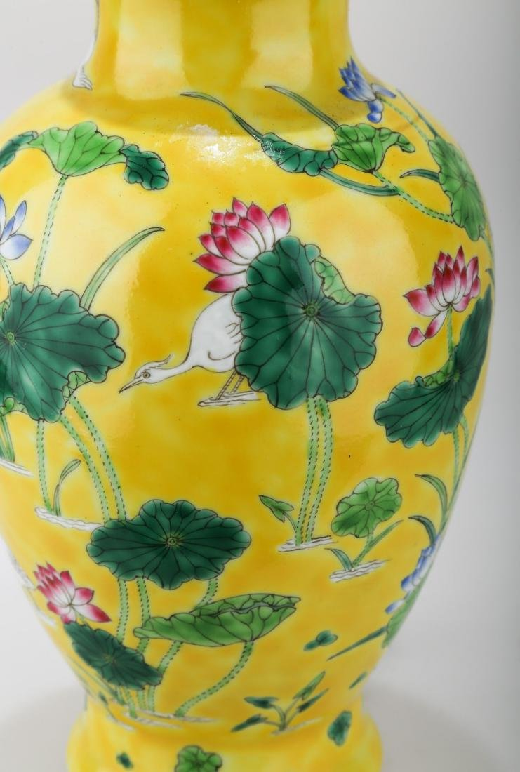 A JAUNE GROUND PORCELAIN WINE EWER WITH FLORAL AND - 5