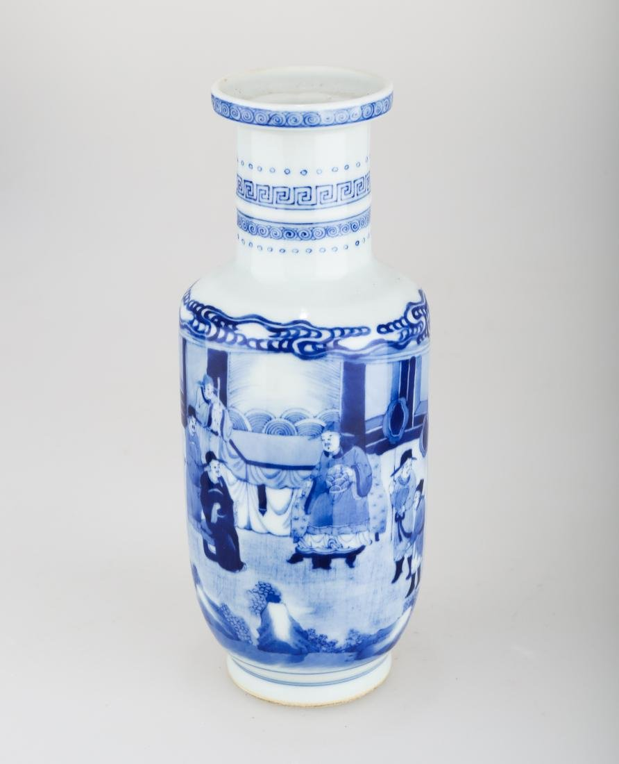 A BLUE AND WHITE PORCELAIN VASE. THE BASE MARKED WITH