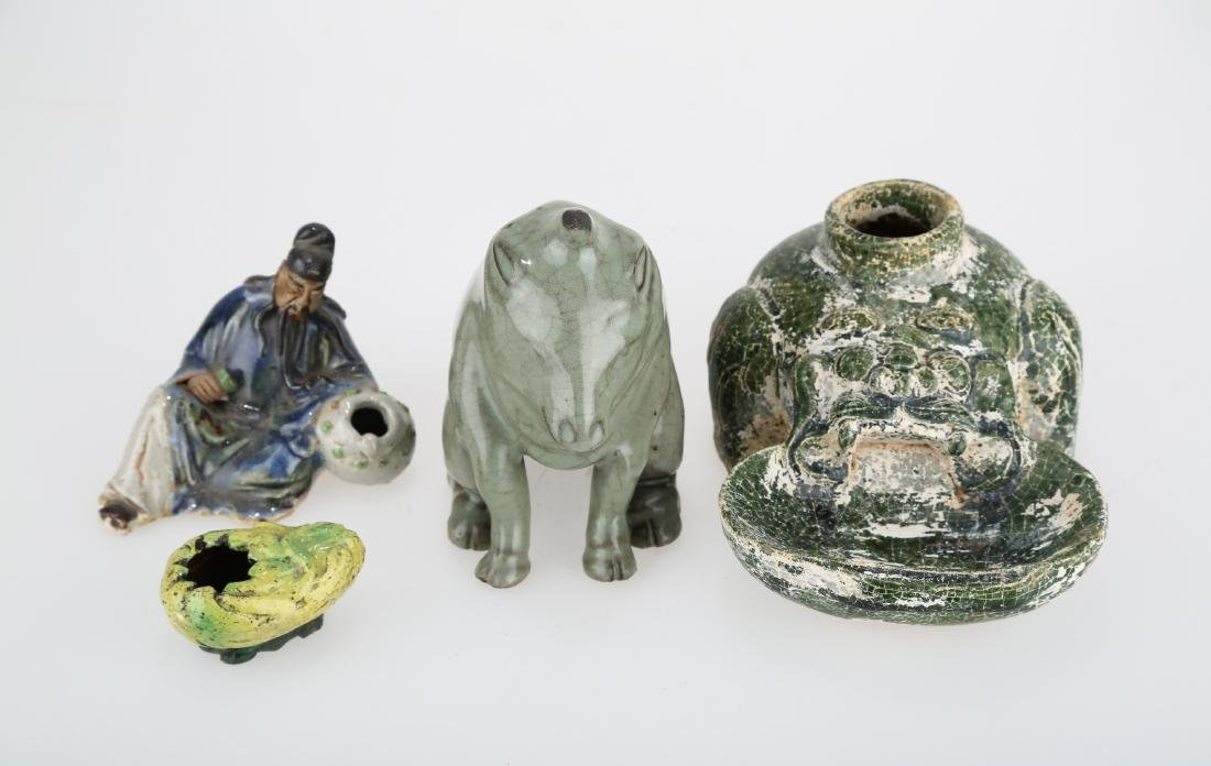 GROUP OF FOUR CHINESE CERAMIC ORNAMENTS, MOULDED