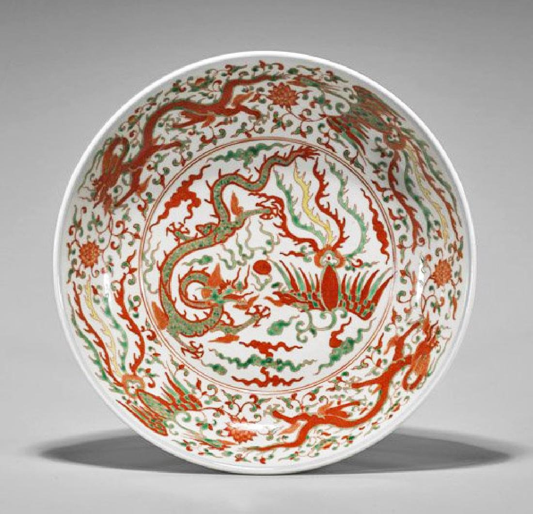 A HUGE WUCAI ENAMELS PORCELAIN DISH.THE BASE MARKED