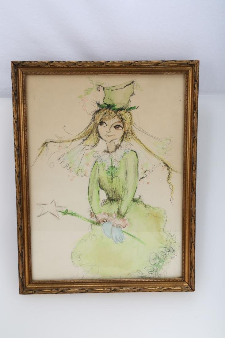 Green Fairy, Watercolor on Paper.FRAMED.OH011.