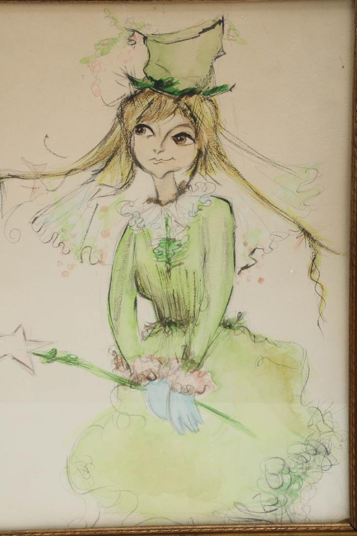 Green Fairy, Watercolor on Paper.FRAMED.OH011. - 2