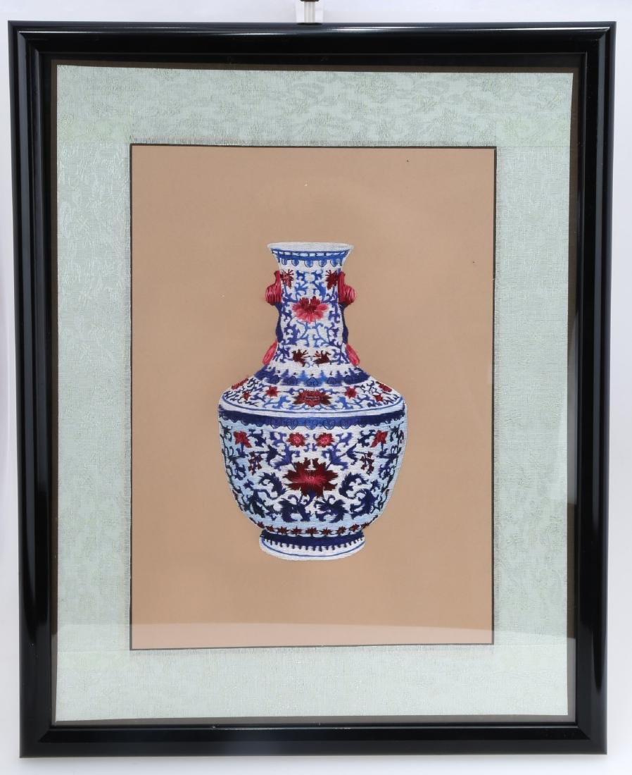 AN EMBROIDERY PICTURE OF CHINESE BLUE AND WHITE