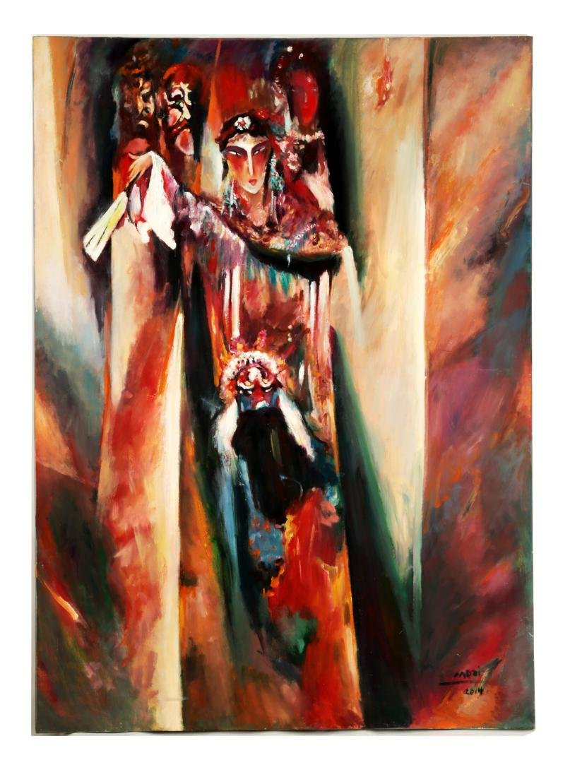 FINE OIL PAINTING DEPICTING PEKING OPERA CHARACTERS IN