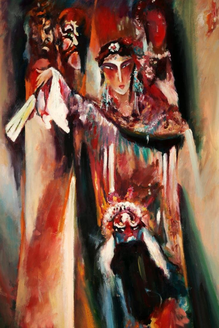 FINE OIL PAINTING DEPICTING PEKING OPERA CHARACTERS IN - 2