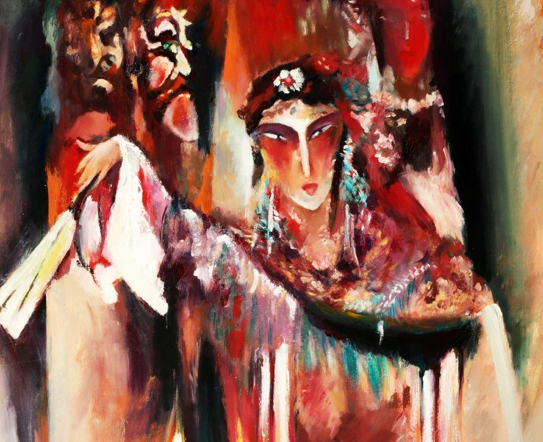 FINE OIL PAINTING DEPICTING PEKING OPERA CHARACTERS IN - 3