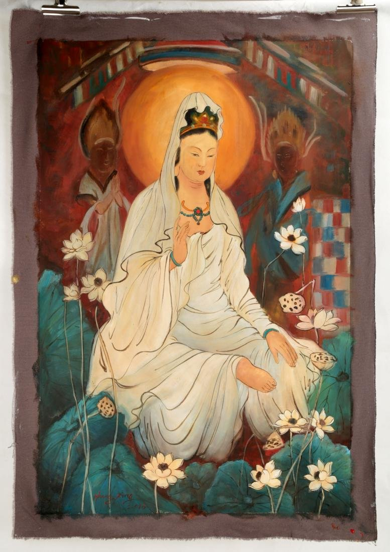A OIL PAINTING DEPICTING 'CHINESE GUANYIN'. SIGNED BY