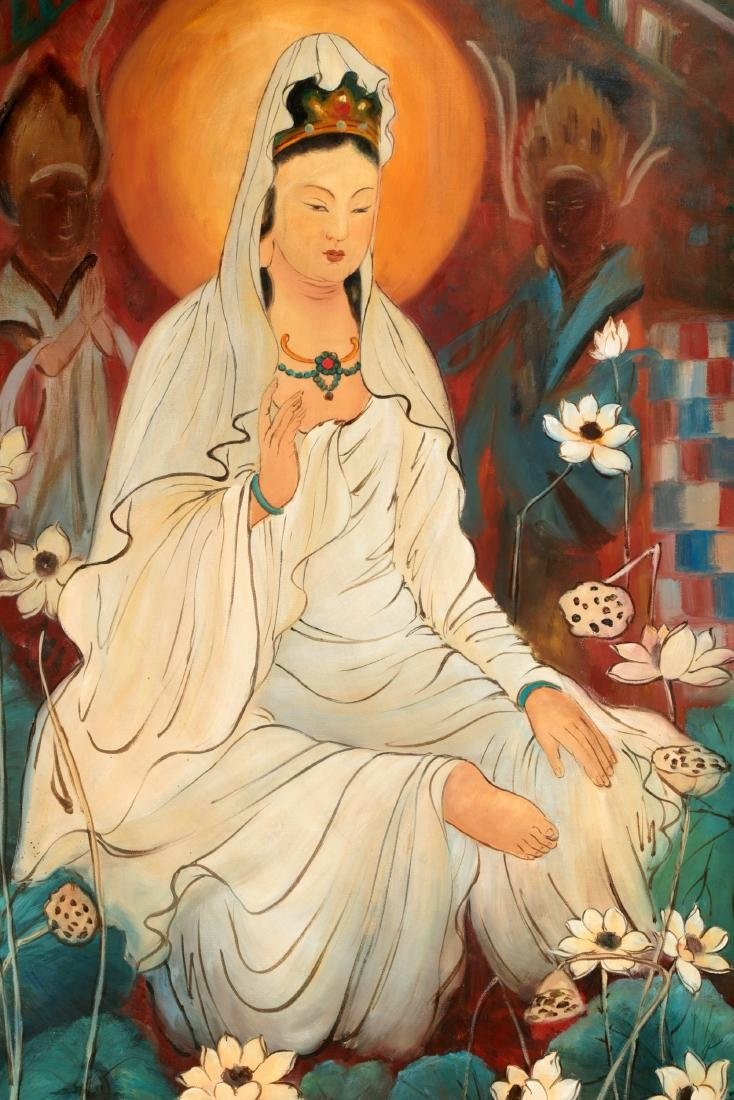 A OIL PAINTING DEPICTING 'CHINESE GUANYIN'. SIGNED BY - 2