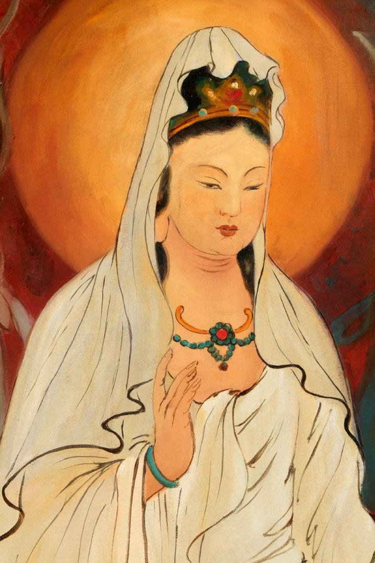 A OIL PAINTING DEPICTING 'CHINESE GUANYIN'. SIGNED BY - 3