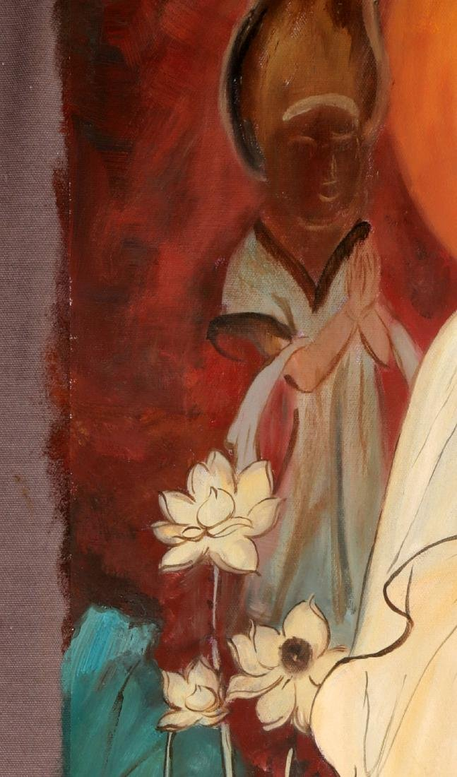 A OIL PAINTING DEPICTING 'CHINESE GUANYIN'. SIGNED BY - 5