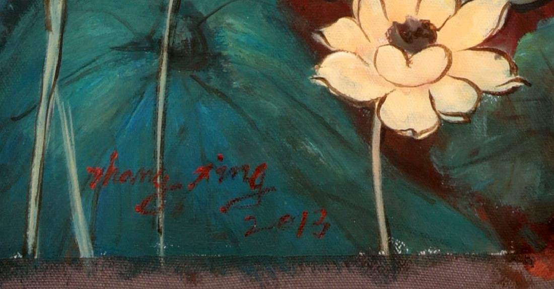 A OIL PAINTING DEPICTING 'CHINESE GUANYIN'. SIGNED BY - 6