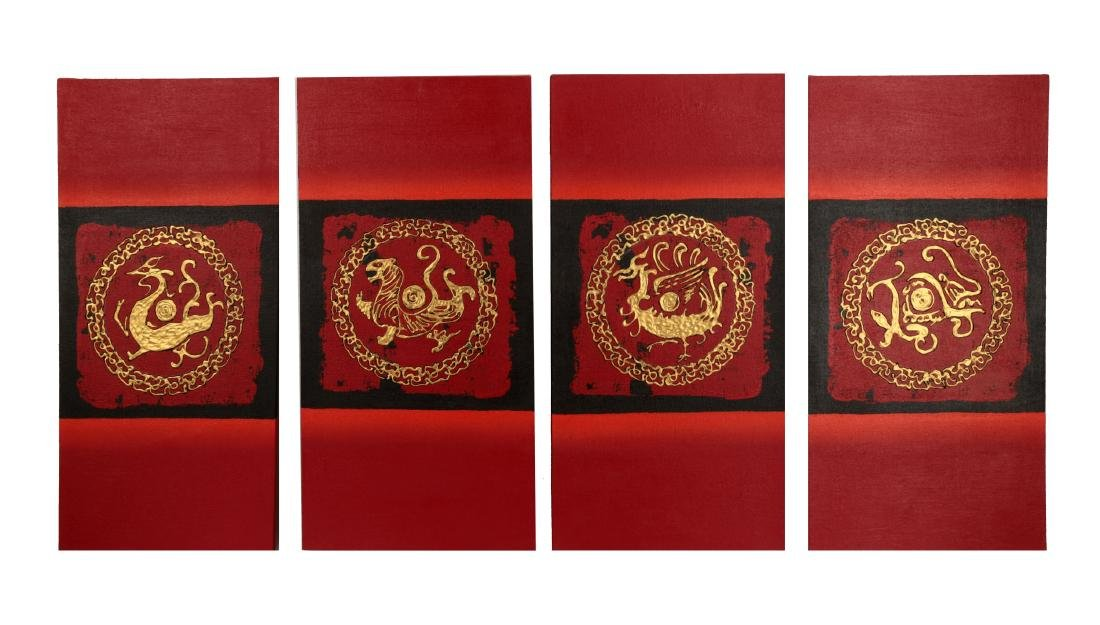 (4) A SET OF FOUR GILT OIL PAINTINGS DEPICTING CHINESE - 2