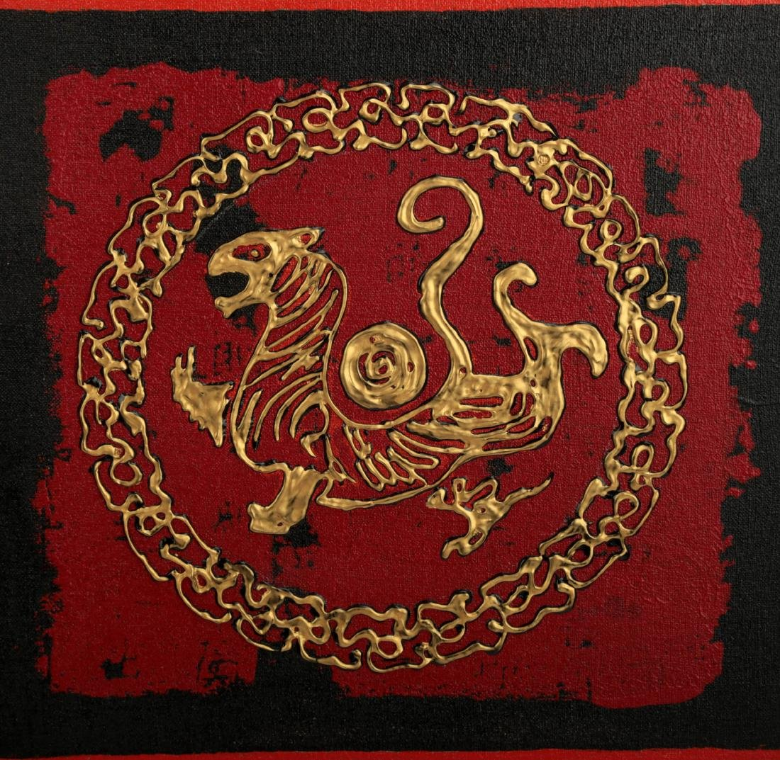 (4) A SET OF FOUR GILT OIL PAINTINGS DEPICTING CHINESE - 5