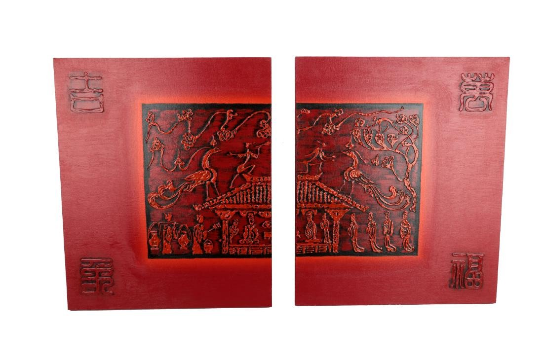 (2) A PAIR OF OIL PAINTINGS WORKS DEPICTING CHINESE HAN