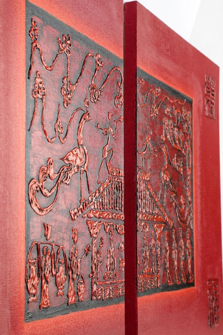 (2) A PAIR OF OIL PAINTINGS WORKS DEPICTING CHINESE HAN - 3
